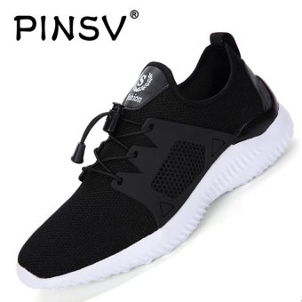 PINSV Men's Light Fashion Sneakers Casual Shoes (Black) - intl