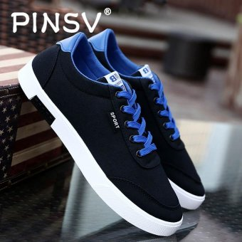 PINSV Men's Canvas Shoes Student Casual Sneakers (Black) - intl