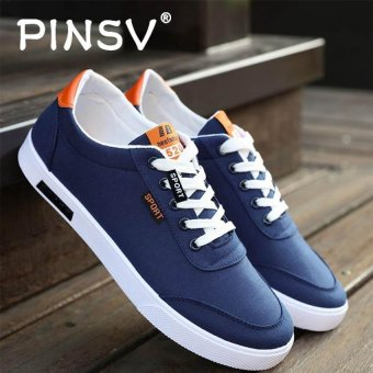 PINSV Men's Canvas Shoes Student Casual Sneakers (Blue) - intl