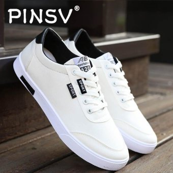 PINSV Men's Canvas Shoes Student Casual Sneakers (White) - intl