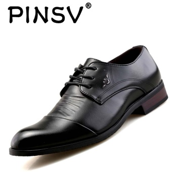 PINSV Men's Casual Leather Lace Shoes Formal Shoes Black - intl