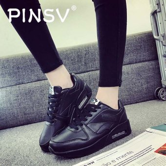 PINSV Women's Casual Heeled Travel Casual Shoes Sneakers-Black -intl