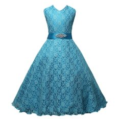 Giá Niêm Yết Princess Sleeveless Lace Wedding Dress Flower Girl Dress Blue 140cm 6-7Y – intl MagiDeal