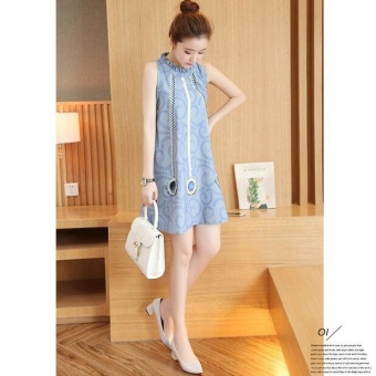Pudding Korea Korean fashion falbala maternity dress-Blue - intl