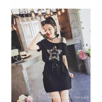 OE680FAAA4AI1VVNAMZ-7826881 - Set Áo Rớt Vai Ngôi Sao Kim Sa + Chân Váy Hana Fashion (đen)