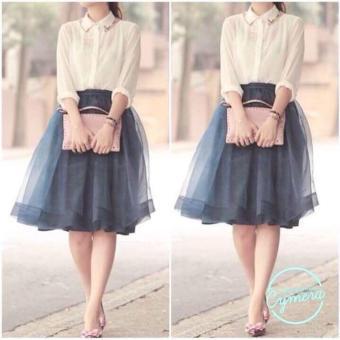 OE680FAAA8H2QQVNAMZ-16448417 - Set Áo Sơ Mi + Chân Váy Xòe Hana Fashion