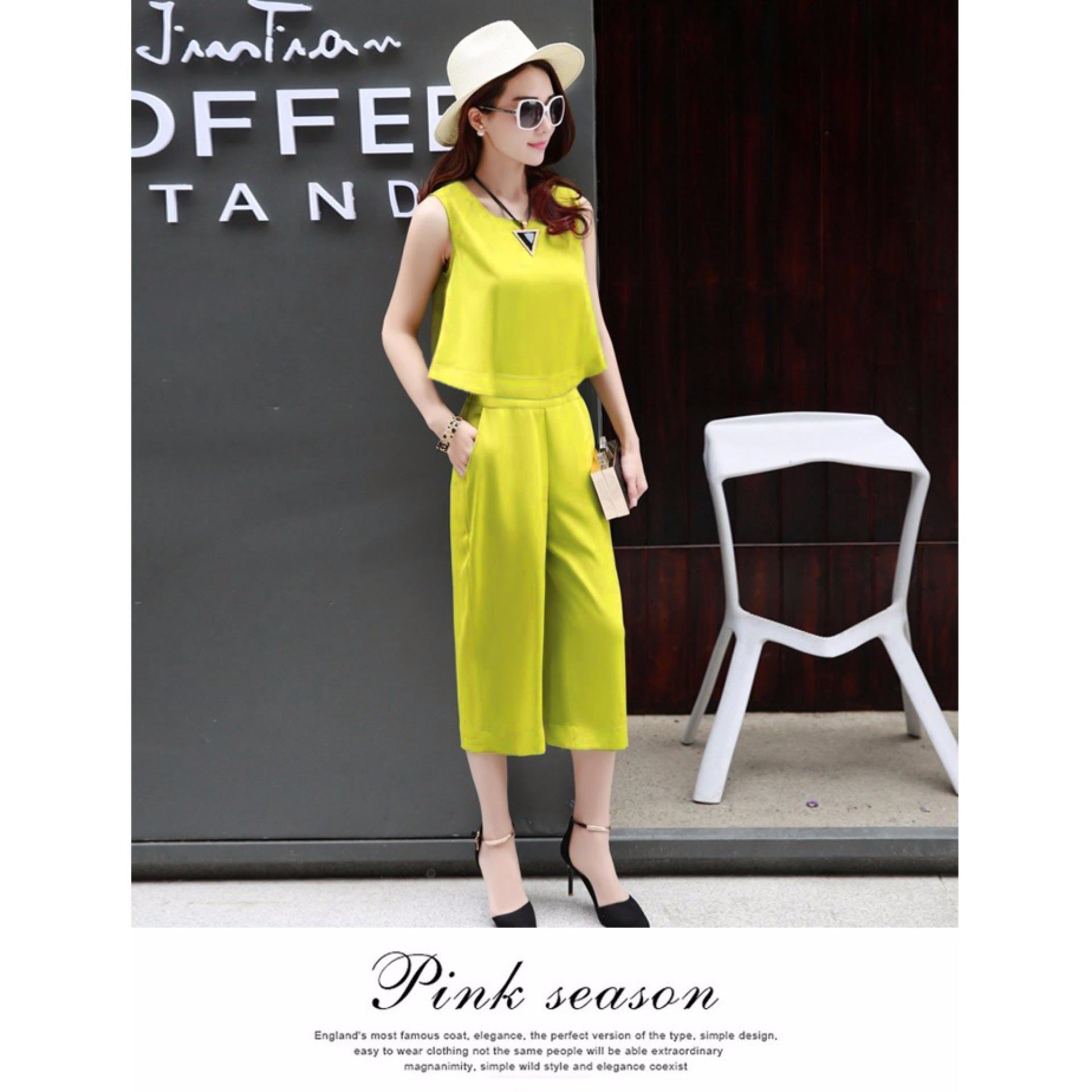 Giá Niêm Yết Set bộ Áo croptop thời trang – 160 – Ha2134 Vàng Chanh