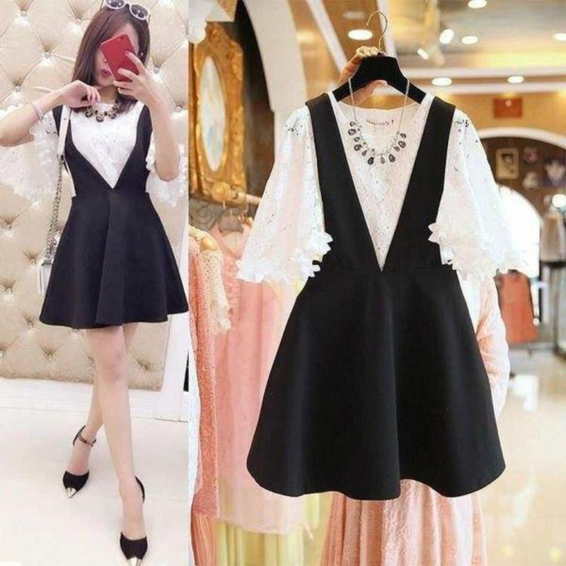 Nơi bán Set Đầm Yếm + Áo Ren Tay Loa Hana Fashion