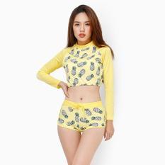 Bảng Giá Set đồ bơi tay dài chống nắng họa tiết trái thơm màu vàng