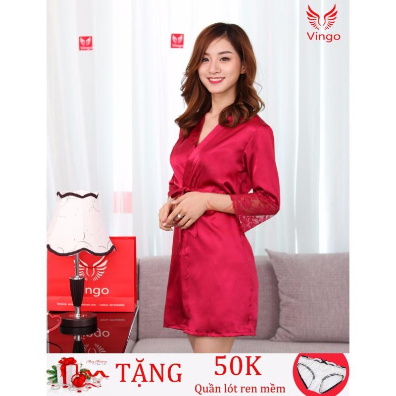Nơi bán Set váy ngủ kèm áo choàng phối ren lụa kiểu Hàn Quốc