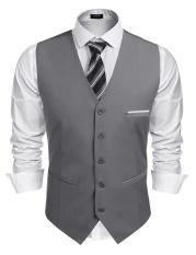 Nơi mua TOP SALE Men V-Neck Sleeveless Patchwork Slim Fit 5-Button Business Suit Vest (Grey) – intl