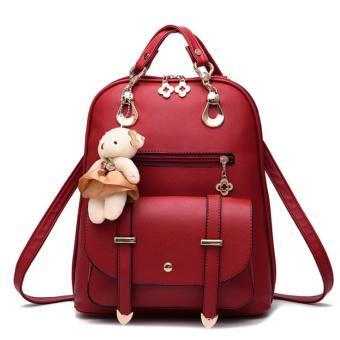 Túi balo kèm gấu màu đỏ