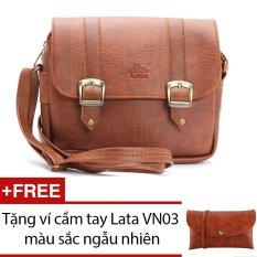 Túi đeo chéo LATA HN08 (Da bò đậm ) + Tặng 1 ví cầm tay Lata VN03