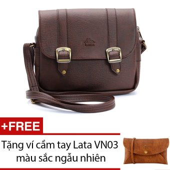Túi đeo chéo LATA HN08 (Da nâu) + Tặng 1 ví cầm tay Lata VN03