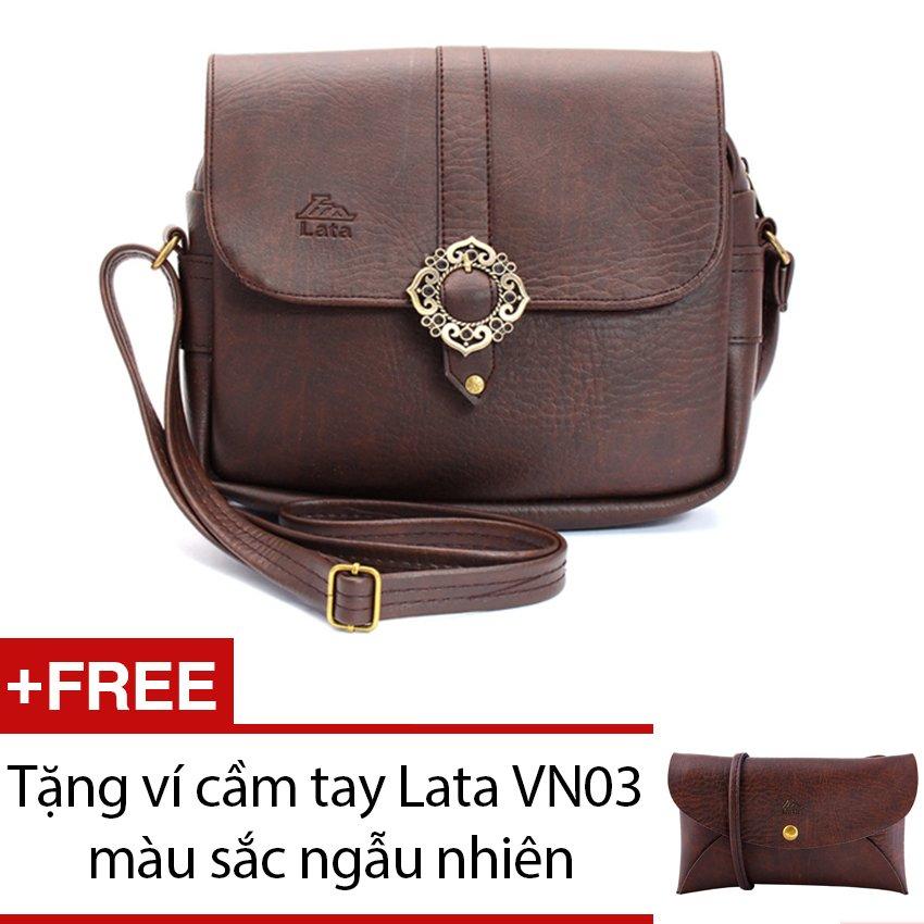Nơi Bán Túi đeo chéo LATA HN09 (Da nâu) + Tặng 1 ví cầm tay Lata VN03