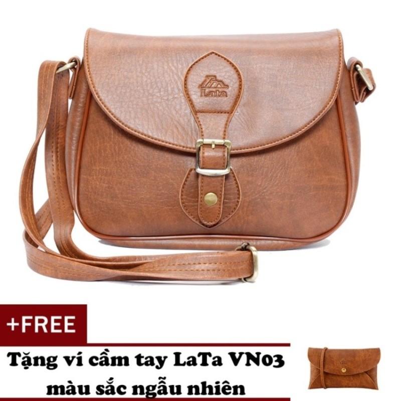 Túi đeo chéo LATA HN14 (Da bò đậm ) + Tặng 1 ví cầm tay Lata VN03
