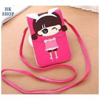 Túi điện thoại cô gái xinh xắn HK SHOP G6 (Hồng Sen)