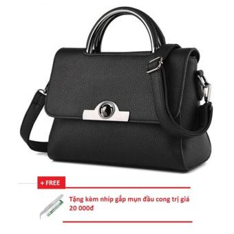 Túi sách nữ 3 ngăn (đen) + Tặng kèm nhíp gắp mụn đầu cong