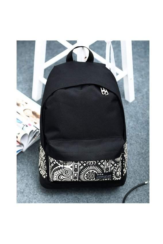 80a4fc1d27 ... Unisex Boys Girls Canvas Rucksack Backpack School Book Shoulder BagBlack  - intl ...