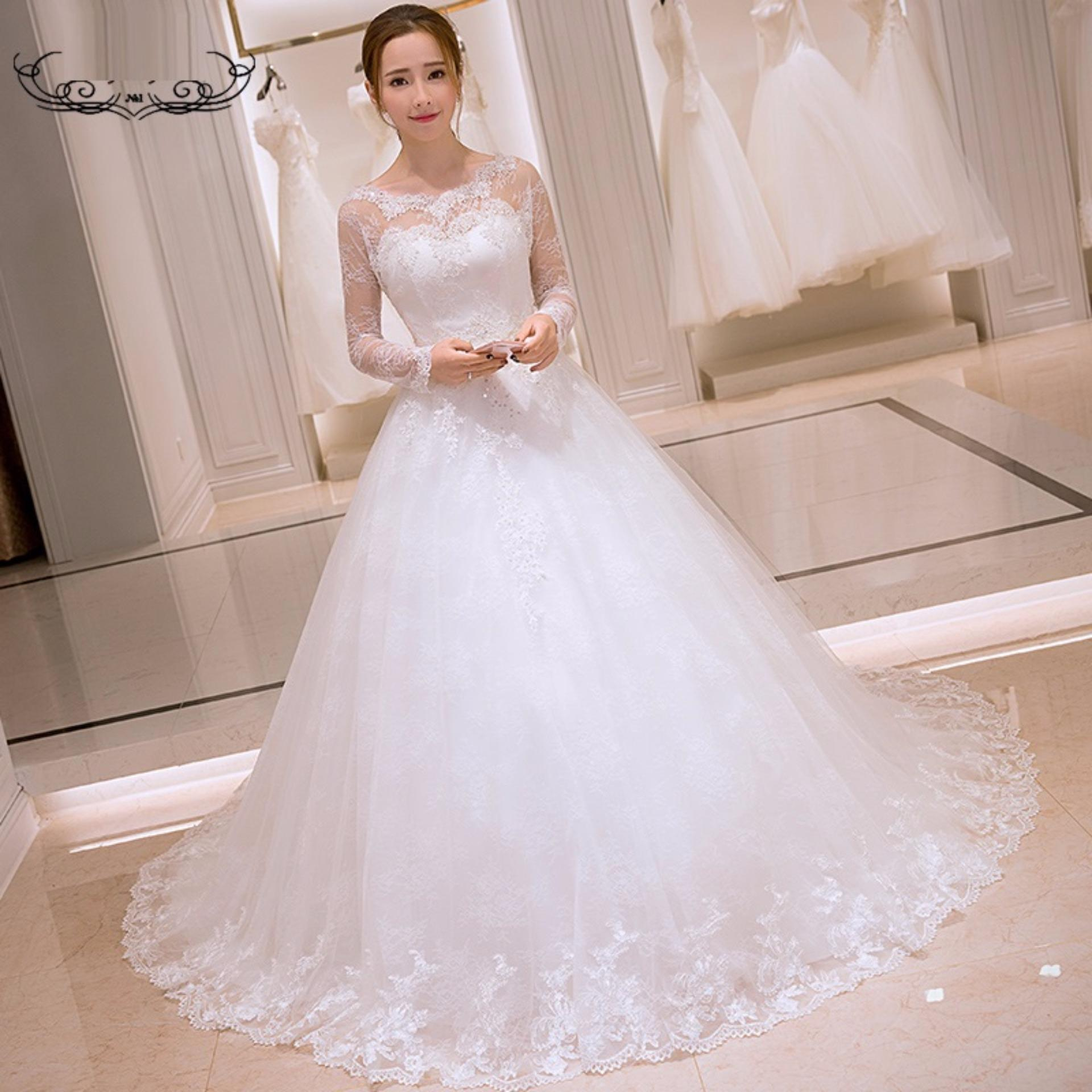 Kết quả hình ảnh cho váy cưới dài tay