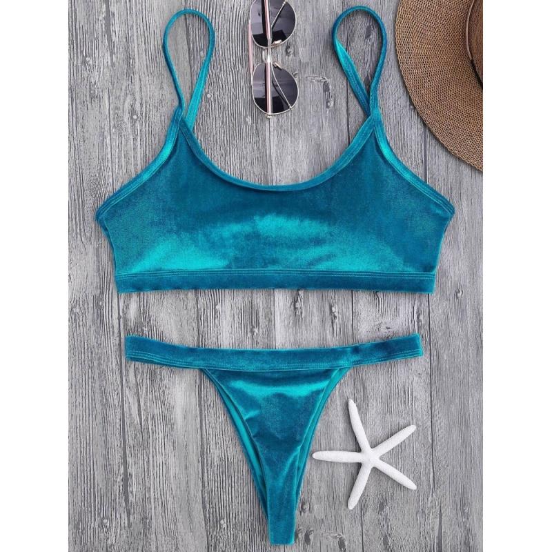 Nơi bán Velvet V String Bralette Bikini Set - intl