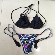 Giá Khuyến Mại Venus queen Women's Ruffle Floral Print Push-Up Bra Vintage Plus Size High Waist Summer Neoprene Set Swimsuit Swimwear Bikini Beachwear   Be A Queen BeautyStore