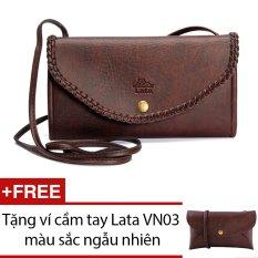 Ví cầm tay LATA V01 (Da nâu) + Tặng 1 ví cầm tay Lata VN03
