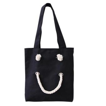 Woman Candy Color Canvas Handbag (Black) - intl