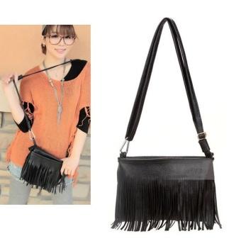 Woman Fringe Tassel Shoulder Messenger Bag Hand Style (Black) -intl