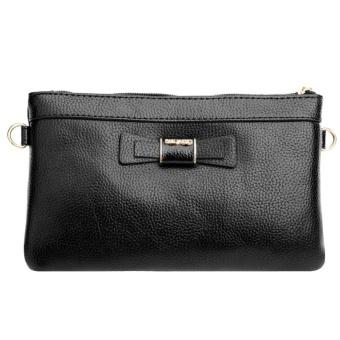 Woman PU Leather Zipper Mini Crossbody Bag (Black) - intl