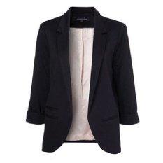 Giá Women Casual Slim Solid Suit Blazer Jacket(Black) – intl  2015 great future