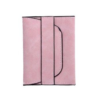 Women PU Leather Wallet Mini Short Drawstring Coin Holder Purse(Pink) - intl