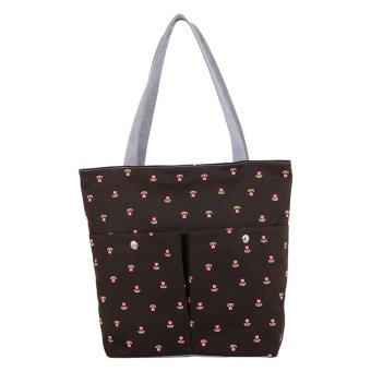 YBC Fashion Canvas Cute Tote Bags School Bag for Girls Brown - intl
