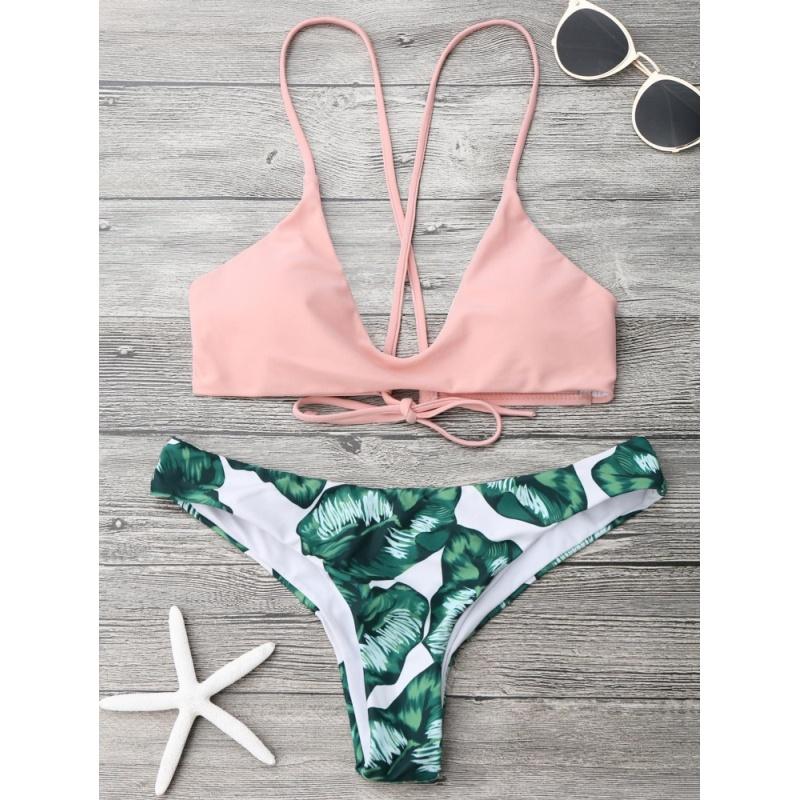 Nơi bán Zaful Women Fashion Cami Bralette Palm Leaf Bikini Set(Pink) - intl