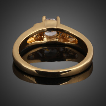 18K Gold Plating Zircon Inlaid Ring 17MM - 2
