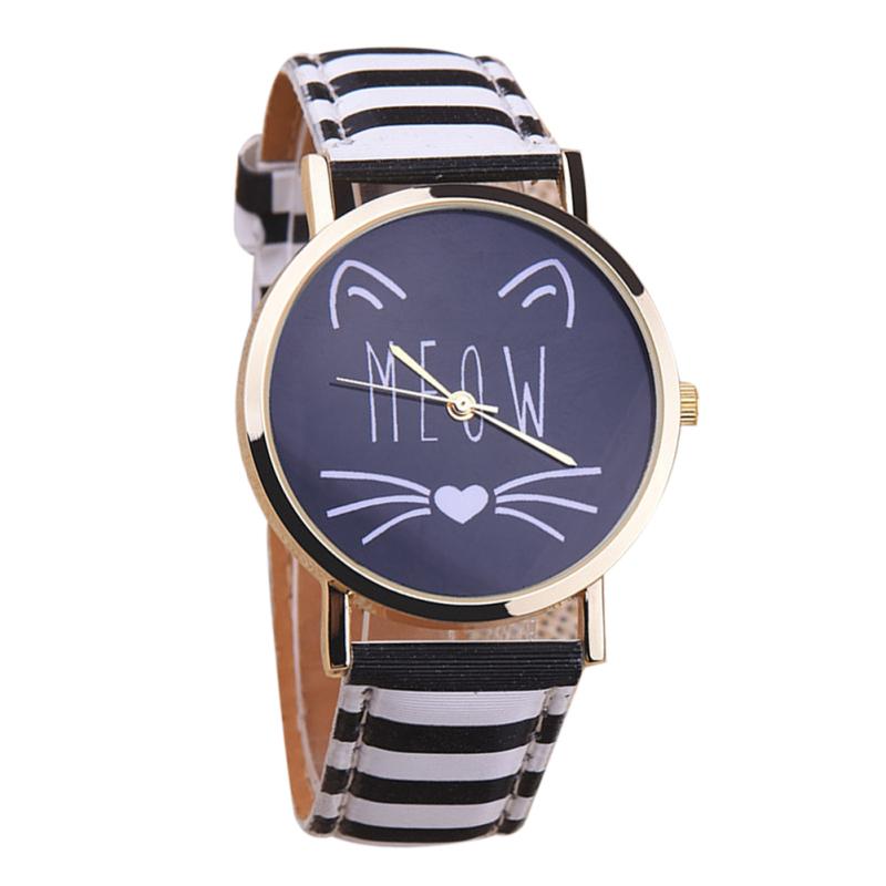 2016 Student Casual Cat Girl Boy Quartz Cartoon Wristwatch (Black+White) - intl bán chạy