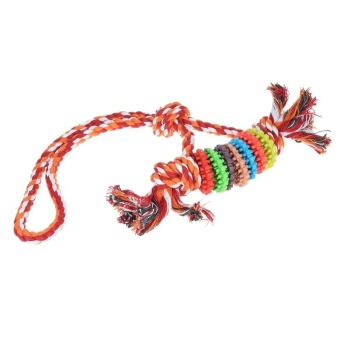Ring molar Pet Toys intl Source · 2pcs Chew Toy with Rope Fetch and Tug Rope