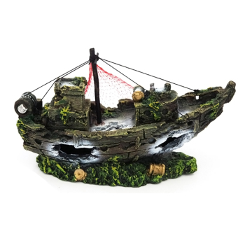 Aquarium Ornament Wreck Sailing Boat Sunk Ship Fish Tank Cave HomeDecor - intl