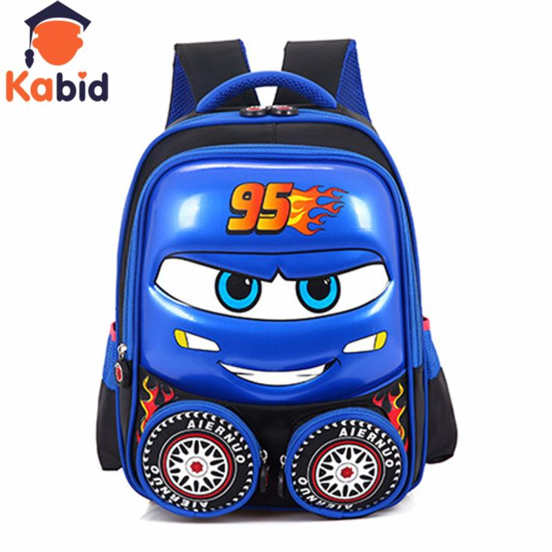 Giá bán Ba lô cho bé trai KABID balo trứng hình ô tô nổi 3D ( Xanh)
