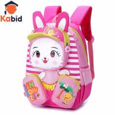 Balo cho bé gái Kabid hình Thỏ con nổi 3D xinh xắn ( Hồng)