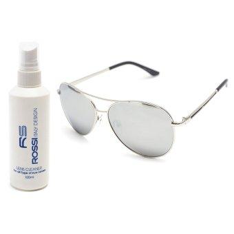 Giá bán Bộ 1 kính mát nam và 1 chai nước rửa kính MKH 7011 (Trắng tráng gương)