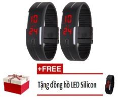 Bộ 2 Đồng hồ led kiểu dáng thể thao dây dẻo Sport (Đen) + Tặng đồng hồ thể thao silicon