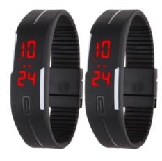 Bộ 2 Đồng hồ led kiểu dáng thể thao dây dẻo Sport LAZAPAY.VN (Đen)