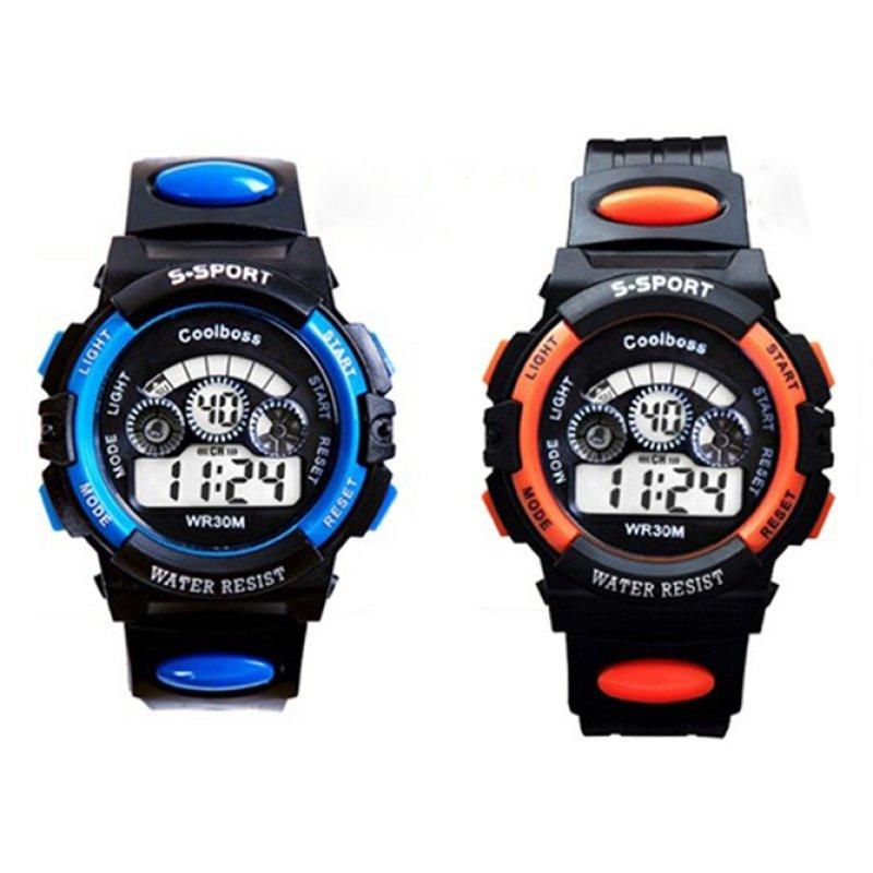 Bộ 2 Đồng hồ trẻ em thể thao phong cách thời trang chịu nước (Xanh Đen - Cam Đen) bán chạy