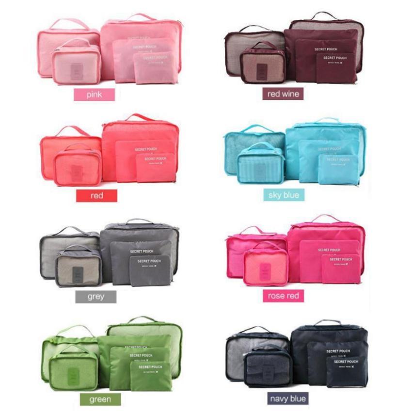 Bộ 6 túi đựng đồ du lịch chống thấm nước phong cách Hàn Quốc (Xám nhạt)