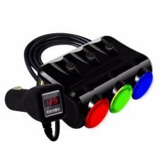 Bộ chia tẩu sạc oto, xe hơi cao cấp 3 tẩu - 2 cổng USB HYUNDAI có LED ( Đen )