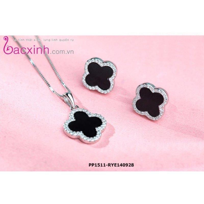Bộ dây chuyền liền mặt và bông tai trang sức bạc Ý S925 Bạc Xinh - Cỏ bốn lá may mắn PP1511-RYE140928