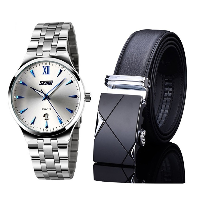 Nơi bán Bộ đôi đồng hồ Skmei Dây thép không gỉ chống nước và thắt lưng da TG001