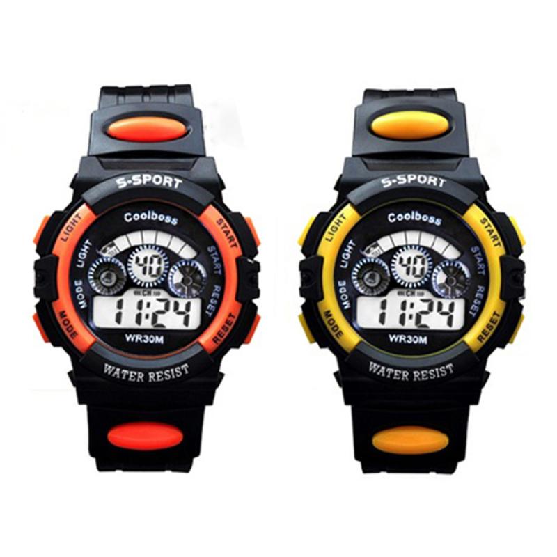 Bộ hai Đồng hồ trẻ em dây nhựa chống nước (Cam Đen - Vàng Đen) bán chạy