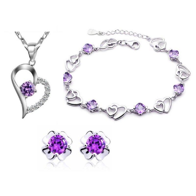 Bộ trang sức bạc trái tim nạm đá hoa 4 lá CBM06B